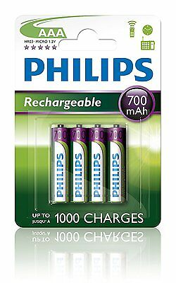 4 x Pilas Philips AAA 700 mAh Recargable Bateria Pre Charged NiMH R03