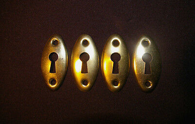 4 FOUR BRASS Keyhole Covers - ESCUTCHEON. Drawer, Door.