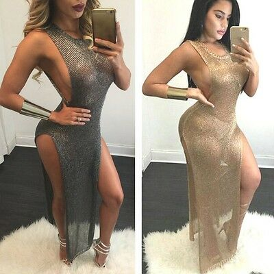 Women Split Slit Mesh Sheer Sleeveless Dress Party Nightout Club Maxi Dresses UK