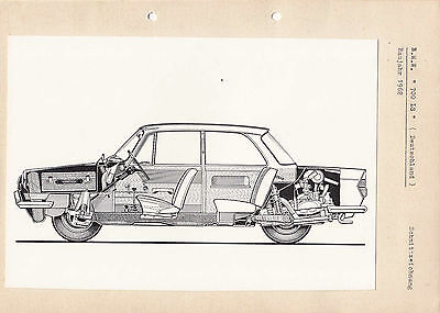 """Bmw """"700 Ls"""" Circa 1962 Model Period Card Illustration, Pasted To Card."""