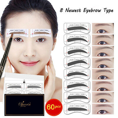 Hot 64Pcs Eyebrow Template Stickers Makeup Eyebrow Stencils Drawing Card 8 Types
