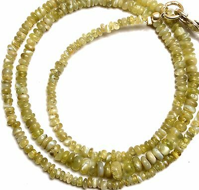 """Natural Gem Chrysoberyl Cats Eye Smooth 3 to 4MM Rondelle Beads Necklace 16"""""""