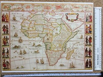 Antique vintage Colour Blaeu Map of Africa 1617, 1600's: REPRINT inc 9 town plan