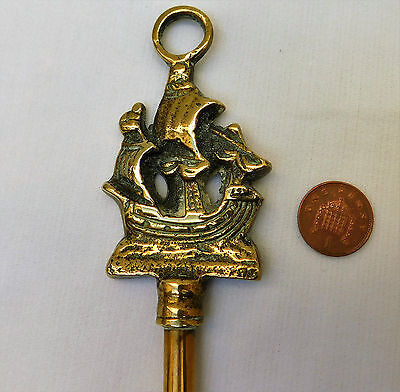 Vintage brass toasting fork 20 inches long sailing ship Kitchen tool collectable