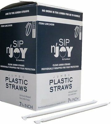 Crystalware Plastic Straws Individually Wrapped 7 3/4 Inches, Approx. 500 Clear