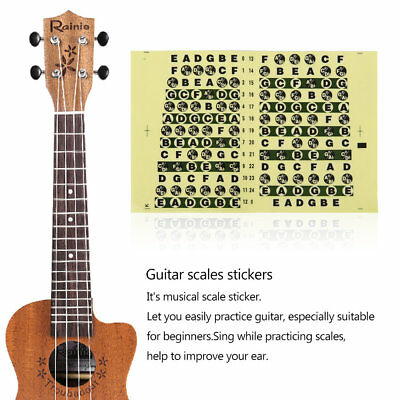 Guitar Neck Fretboard Note Map Fret Sticker Lables Decals Learn Fingerboard AB