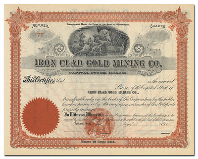 Iron Clad Gold Mining Co. Stock Certificate