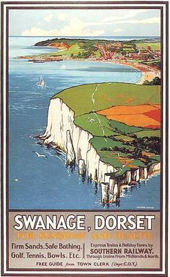 1930's Southern Railways Swanage Dorset Railway Poster A3 / A2 Print