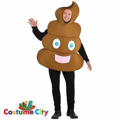 Adults Mens Emoji Smiley Pooper Poop Halloween Funny Fancy Dress Party Costume
