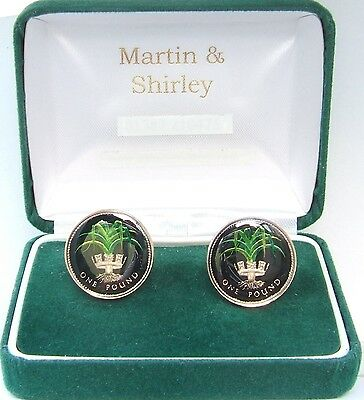 WALES LEEK £1 Cufflinks made from real Coins Black & Gold & Colours