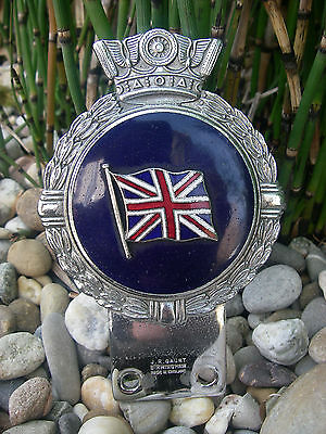 vintage british UNION FLAG - J.R. GAUNT CHROME ENAMEL Car Badge JACK / ROYAL