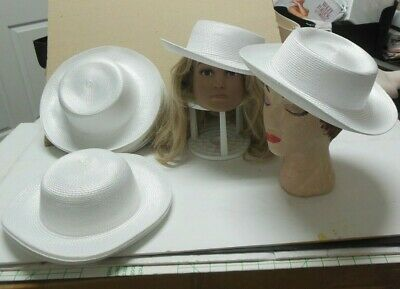 "New Lot of 6 Child size White curled brim straw dressy hats /""Sunday/"" #3354"