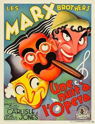 Vintage French Marx Brothers Night at The Opera Movie Poster A3/A2/A1 Print