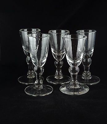Five Williamsburg Baluster Wine Goblets - Colonial Restoration Glass