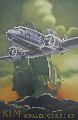 Vintage KLM Dutch Airlines Travel  Poster A3 / A2 Print