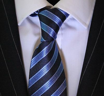 Tie Neck tie with Handkerchief Blue & Black Stripe