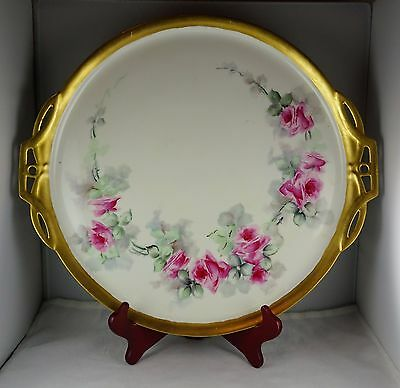 Large Antique Porcelain Handled Serving Tray - Heavy Gold, Hand Painted Floral