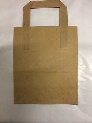 **EXTRA HEAVY ** 100 SMALL BROWN KRAFT PAPER CARRIER SOS BAGS 7x3.5x8.5""