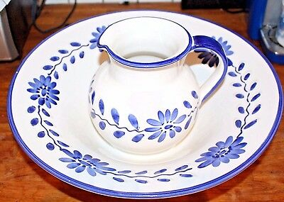 Williams Sonoma Italy Pitcher Serve Bowl White Spa Blue Flowers Pottery Ceramic