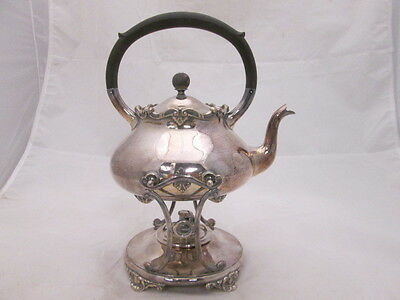 Stunning Gorham Electroplate Silver Tilting Teapot Wick Oil Warming Stand #0131
