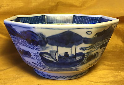 Antique Japanese Octagon Blue/White Porcelain Bowl: Boat Scene/Character Writing