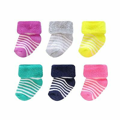Carter's 6 Pack Of Terry Socks For Infant Girls~Size 0-3 Months~New In Package