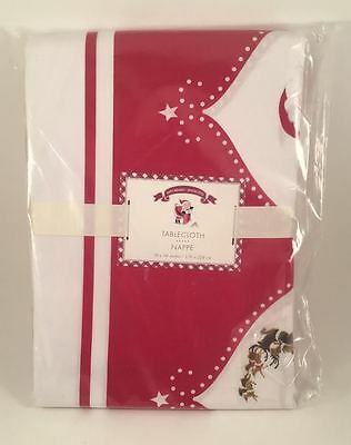 "Pottery Barn Kids Santa Claus Reindeer Christmas Tablecloth 70"" x 90"" NEW"