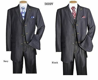 Luxiouse Denim Look/ Feel 3 Button Suit 3-pi  with Vest&Pants Black, Navy 5609V