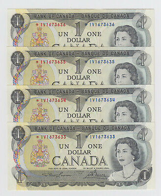 Lot of 4 Consecutive Replacement Notes - 1973 Bank of Canada $1 - *IV Prefix