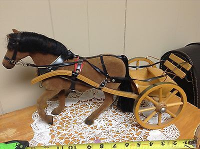 VINTAGE W Germany STEHA LIEHA flocked horse & cart toy MODEL EXCELLENT - RARE!