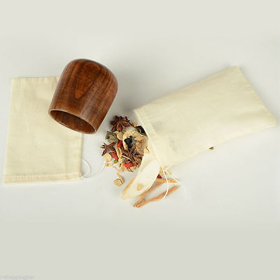 "(100pcs) 3""x4"" Cotton Muslin Drawstring Reusable Bags for Spices, Bath Soaps"