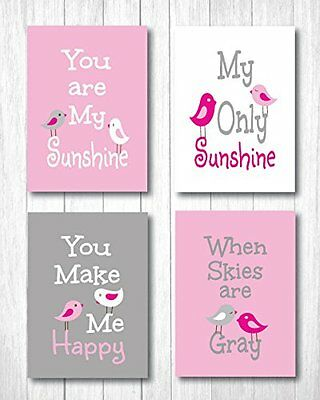 Set of Four Sunshine Art Prints for Nursery 8 x 10 Baby Pink