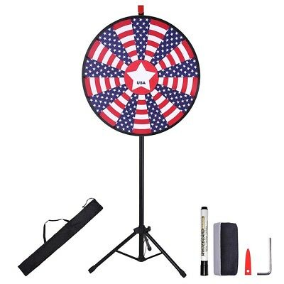 """30"""" 18 Slots Prize Wheel Tripod Stand Tradeshow Carnival Fortunate Spinning Game"""