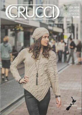 Crucci Knitting Pattern 1454, Jumper Sweater & Beret, For 14 Ply Wool