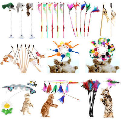 Funny Pet Cat Kitten Toy Mouse Teaser Wand Feather Rod Cat Play Toys Interac A#S