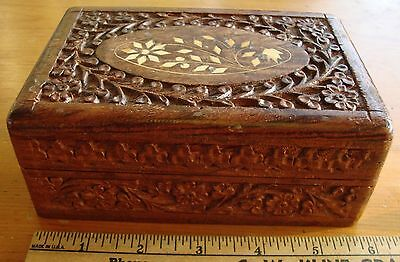 Vintage Hand Carved Wooden Box From India With Inlay, Shesham Wood