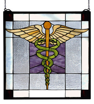 DOCTOR STAINED GLASS WINDOW by MEYDA TIFFANY, Great Caduceus Gift-- NEW