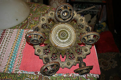 Antique Victorian Art Deco 5 Light Hanging Chandelier-Intricate Design Patterns