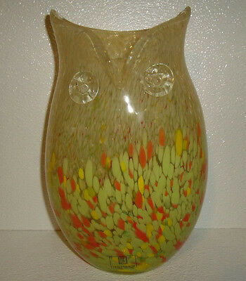 "Art Glass Owl Vase LARGE 11.25"" Yellow New With Tag Hand Blown"