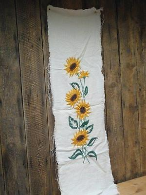 Vintage Runner Wall Hanging Needlework Sunflower Design On Heavy Cotton D