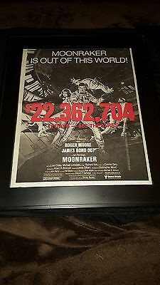 James Bond Moonraker Rare Original Box Office Promo Poster Ad Framed Roger Moore