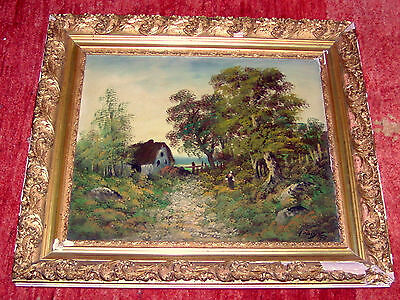 RARE !!  Original Oil Painting 19th century France Landscape, Canvas, Signature