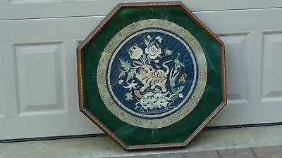 ANTIQUE 19c SILK EMBROIDERY FORBIDDEN STITCH ROUND FRAMED PANEL,FOO-LION,TARTLE