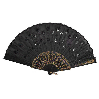 Black Plastic Frame Embroidery Floral Detail Folding Hand Fan T8Y8