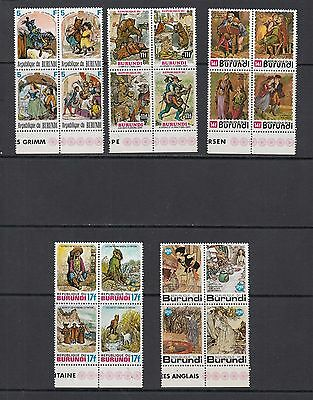 FAIRY TALES - Burundi -1977 blocks of 4 -(SC 533-7)-MNH-A537