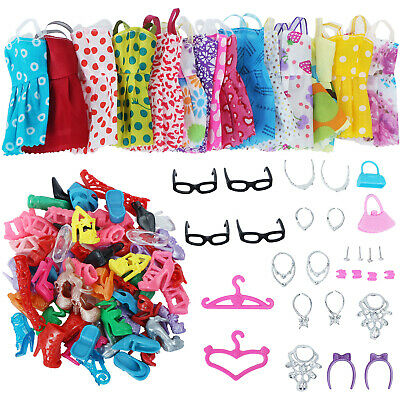 35 Items=10 Dress 10 Shoes 6 Necklace Glasses  Accessory Clothes for Barbie Doll