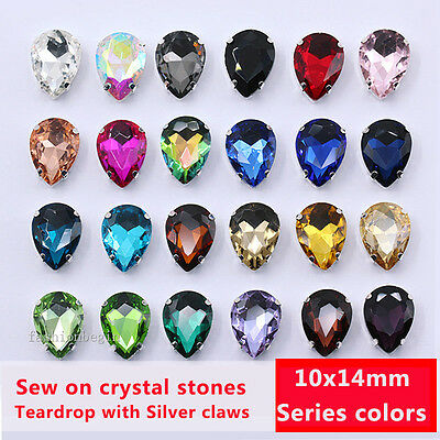 20p 10x14mm color Sew On Crystals glass Teardrop Costume Dress Decor rhinestones