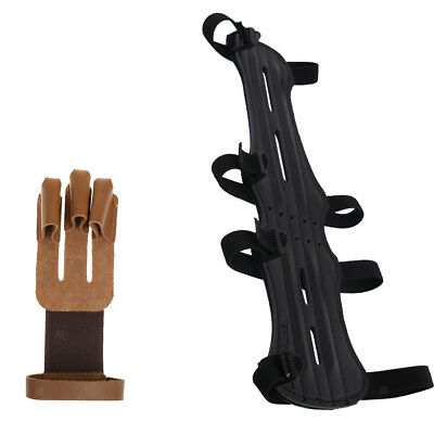 Archery 3 Fingers Glove & 4 Strap Arm Guard Safety Gear for Hunting Shooting