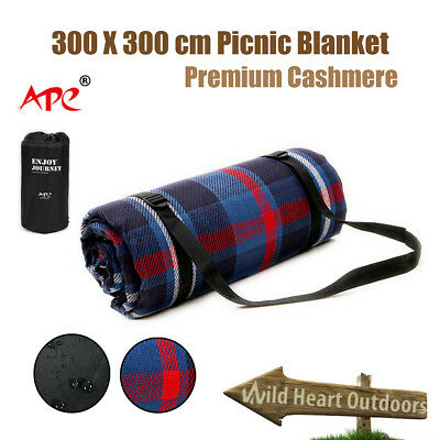 300X300cm Extra Large Picnic Blanket Premium Cashmere Rug Waterproof Mat Outdoor