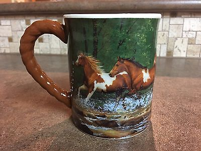 Spring Creek Run -Chris Cummings- Horse Sculpted Coffee Cup Mug Horses